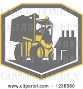 Vector Clip Art of Retro Worker Operating a Forklift over a Factory Shield by Patrimonio