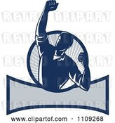 Vector Clip Art of Retro Worker Pumping His Fist over a Banner and Ray Circle by Patrimonio