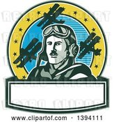 Vector Clip Art of Retro World War One Male Pilot Aviator Looking up over a Banner, on a Cricle with Blue Sky, Stars and Biplanes by Patrimonio