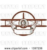 Vector Clip Art of Retro World War One Male Pilot Aviator Looking up over a Wing Banner and Biplane by Patrimonio