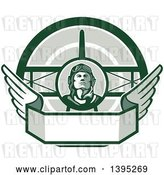Vector Clip Art of Retro World War One Male Pilot Aviator Looking up over a Wing Banner and Biplane, in Green Tones by Patrimonio