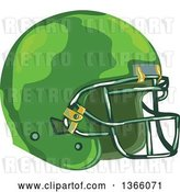 Vector Clip Art of Retro WPA Styled Green American Football Helmet by Patrimonio