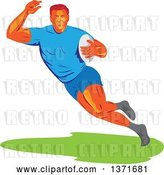Vector Clip Art of Retro Wpa Styled Male Rugby Player Runing with a Ball by Patrimonio
