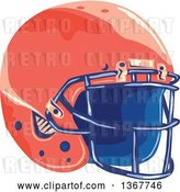 Vector Clip Art of Retro WPA Styled Red American Football Helmet by Patrimonio