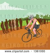Vector Clip Art of Retro Wpa Styled Silhouetted Crowd Watching a Male Cyclist by Patrimonio