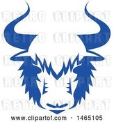 Vector Clip Art of Retro Yak Head in Blue and White Style by Patrimonio