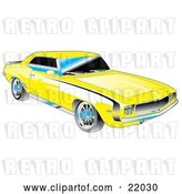 Vector Clip Art of Retro Yellow 1969 Chevrolet RS/SS Camaro Muscle Car with Black Stripes on the Sides and Chrome Detailing by Andy Nortnik