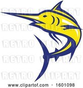Vector Clip Art of Retro Yellow and Blue Marlin Fish Mascot by Patrimonio