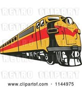 Vector Clip Art of Retro Yellow and Red Train by Patrimonio