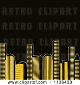 Vector Clip Art of Retro Yellow City Urban Skyscrapers with Black Copyspace by Elaineitalia
