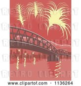 Vector Clip Art of Retro Yellow Fireworks over a Bridge with Red Tones by Patrimonio
