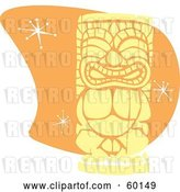 Vector Clip Art of Retro Yellow Tiki Carving in Style, over Orange with Stars by Xunantunich