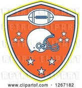 Vector Clip Art of Retro Yellow White Blue and Orange American Football Shield with a Helmet and Stars by Patrimonio