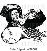 Vector Clip Art of Rich Guy Playing a Flute over Coins by Prawny Vintage