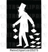Vector Clip Art of Silhouetted Guy Dropping Banknotes by Prawny Vintage