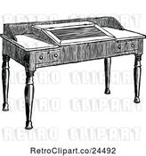 Vector Clip Art of Wooden Study Desk by Prawny Vintage