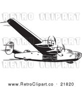 Vector Clipart of a Retro Airplane by BestVector