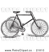 Vector Clipart of a Retro Black and White Tricycle by BestVector