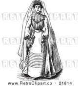 Vector Clipart of a Retro Bride in a Gown by BestVector