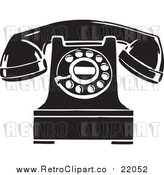 Vector Clipart of a Retro Desktop Telephone by BestVector