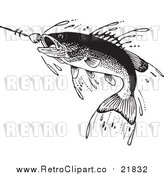 Vector Clipart of a Retro Fish Swimming Towards a Lure by BestVector