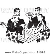 Vector Clipart of a Retro Group of Adults Playing Poker by BestVector