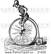 Vector Clipart of a Retro Man Riding a Penny Farthing Bicycle by BestVector