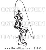 Vector Clipart of a Retro Wading Fisherman Reeling in a Fish by BestVector