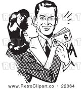 Vector Clipart of a Retro Wife Kissing Her Husband on the Cheek As He Hands Her Money by BestVector