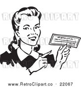 Vector Clipart of a Retro Woman Holding a Check by BestVector
