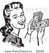 Vector Clipart of a Retro Woman Holding Cash by BestVector