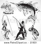 Vector Clipart of Retro Black and White Fishermen and Fish by BestVector