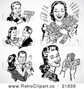 Vector Clipart of Retro Black and White Men and Women with Cash and a Check by BestVector