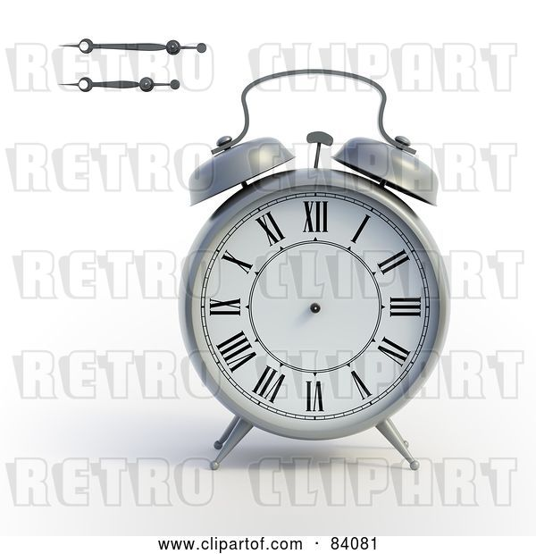 Clip Art of Retro 3d Alarm Clock with the Minute and Hour Hands to the Side
