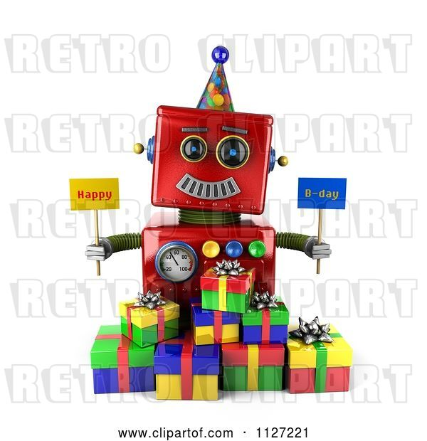Clip Art of Retro 3d Red Robot Holding Happy Bday Signs