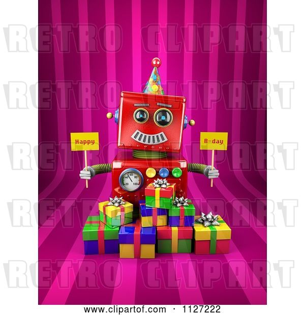 Clip Art of Retro 3d Red Robot Holding Happy Bday Signs over Gift Boxes on Pink Stripes