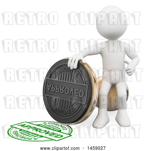 Clip Art of Retro 3d White Guy with an Approved Stamp, on a White Background