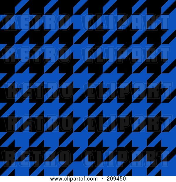 Clip Art of Retro Blue and Black Hounds Tooth Pattern Background