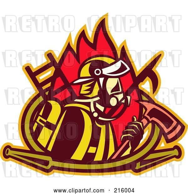 Clip Art of Retro Firefighter with an Axe, Ladder, Flames and Hose