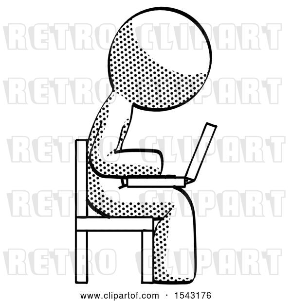 Clip Art of Retro Guy Using Laptop Computer While Sitting in Chair View from Side