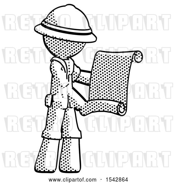 Clip Art of Retro Halftone Explorer Ranger Guy Holding Blueprints or Scroll