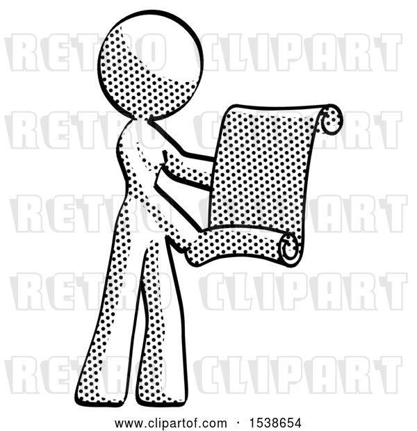 Clip Art of Retro Lady Holding Blueprints or Scroll