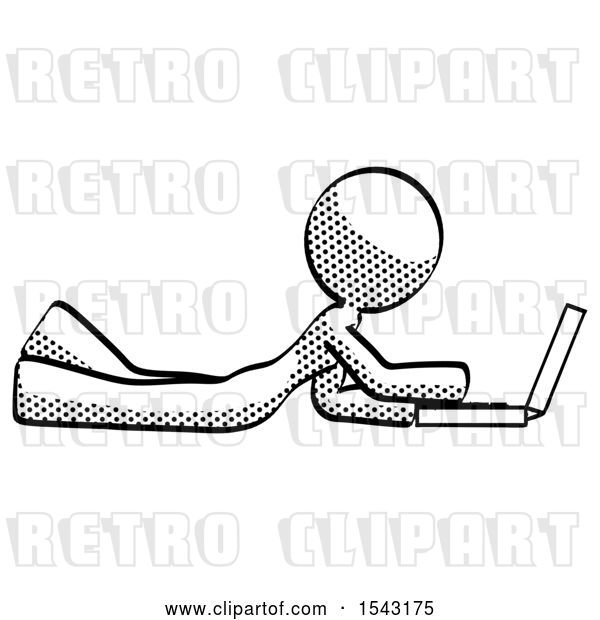 Clip Art of Retro Lady Using Laptop Computer While Lying on Floor Side View