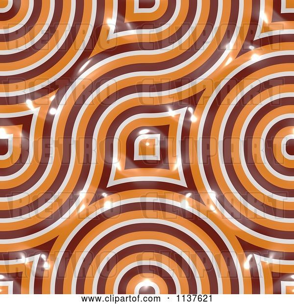 Clip Art of Retro Seamless Orange Truchet Tile Texture Background Pattern Version 3