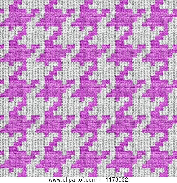 Clip Art of Retro Seamless Pink and White Houndstooth Pattern