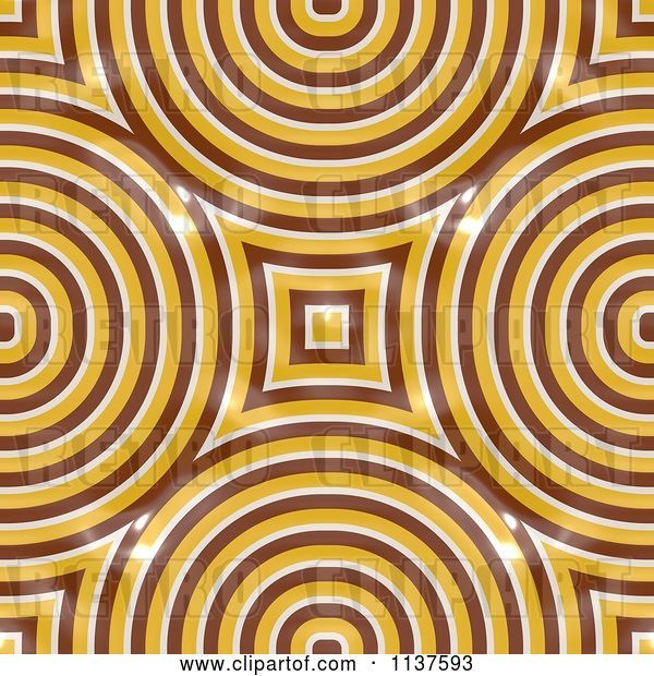 Clip Art of Retro Seamless Yellow Truchet Tile Texture Background Pattern Version 3