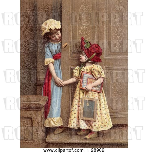 Clip Art of Retro Two Little Sisters at a Doorway, Smiling and Holding Hands, Circa 1880