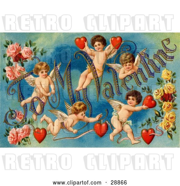 "Clip Art of Retro Valentine of Five Playful Cupids with Roses, Decorated ""To My Valentine"" Text with Red Hearts, Circa 1911"