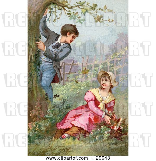 Clip Art of Retro Victorian Scene of a Little Boy Climbing a Tree While Showing off for a Girl As She Picks Flowers in a Garden, Circa 1890