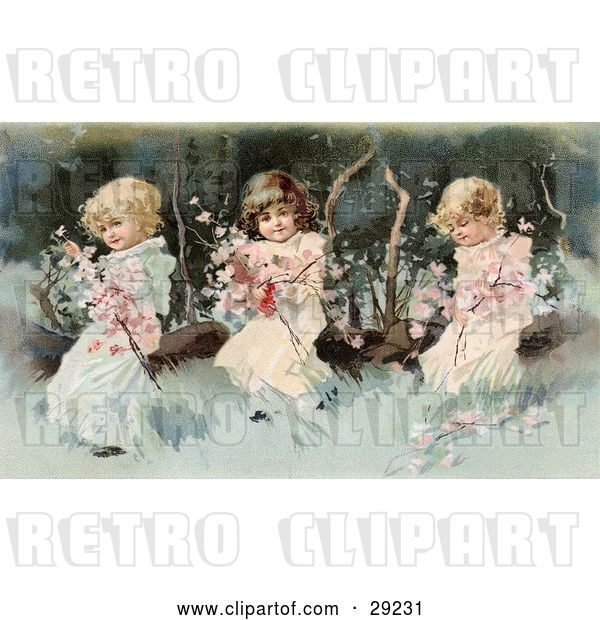 Clip Art of Retro Victorian Scene of Three Little Girls Sitting on a Fallen Tree and Making a Garland of the Pink Spring Blossoms, Circa 1890.